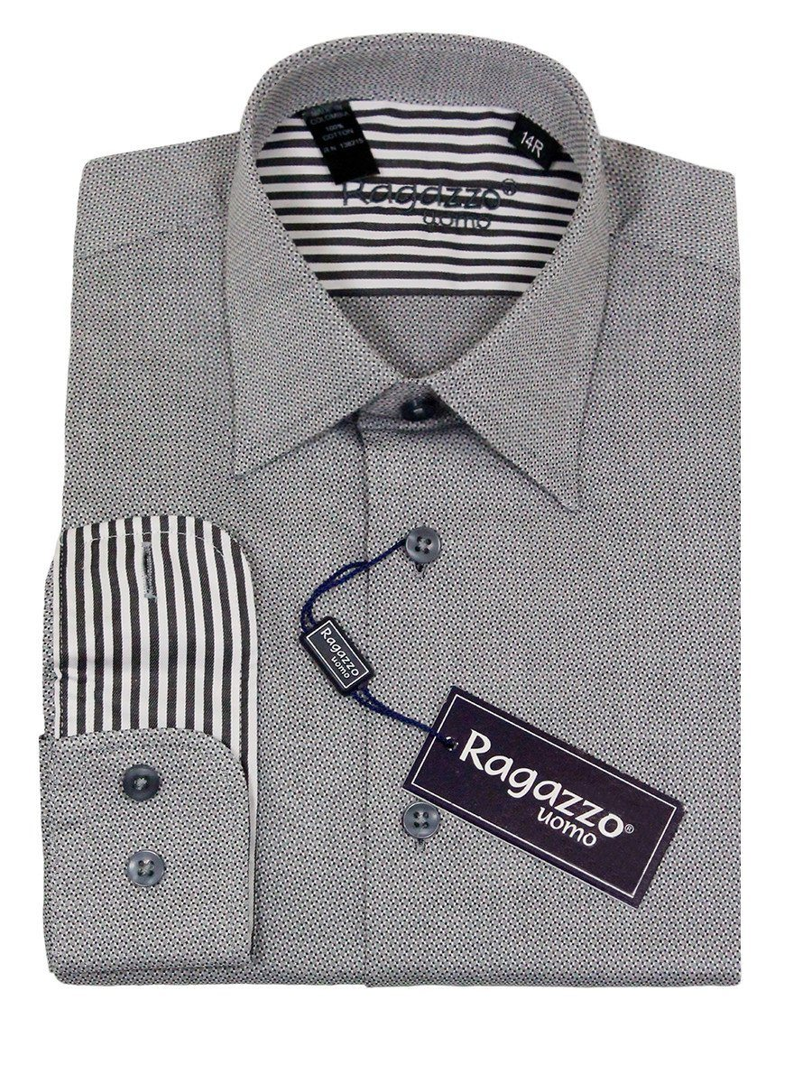 Ragazzo 23227 100% Cotton Boy's Dress Shirt - Checkered Box Weave - Gray Boys Dress Shirt Ragazzo