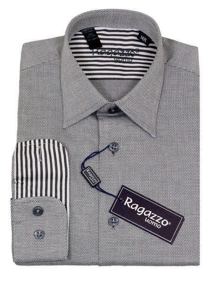 Ragazzo 23227 100% Cotton Boy's Dress Shirt - Checkered Box Weave - Gray