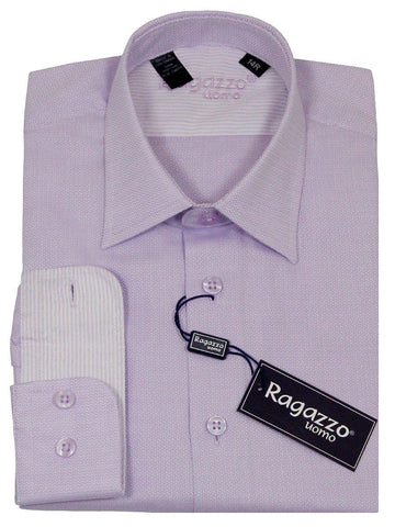 Ragazzo 23234 100% Cotton Boy's Dress Shirt - Weave - Lavender Boys Dress Shirt Ragazzo