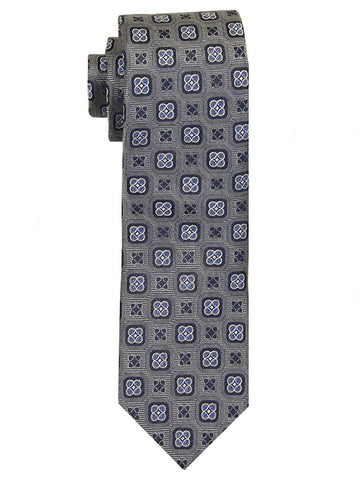 Heritage House 23281 100% Woven Silk Boy's Tie - Neat Geometric Style - Grey/Blue Boys Tie Heritage House