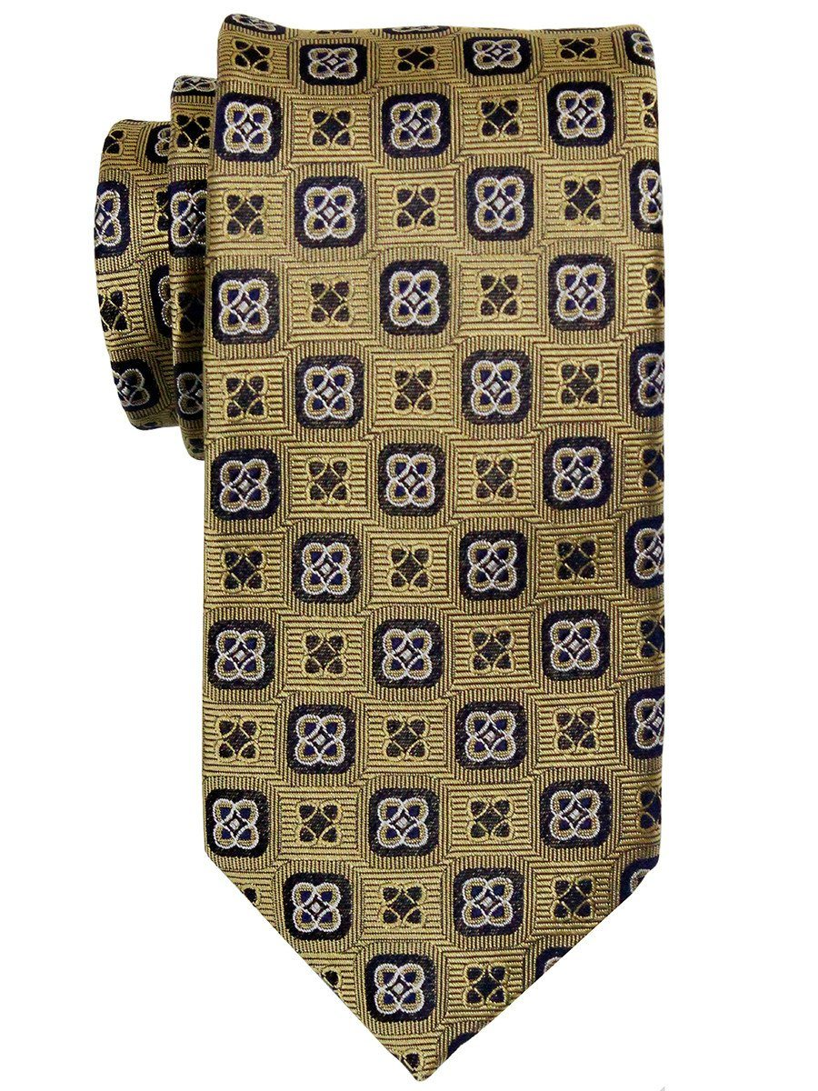 Heritage House 23283 100% Woven Silk Boy's Tie - Neat Geometric - Gold/Black/Navy