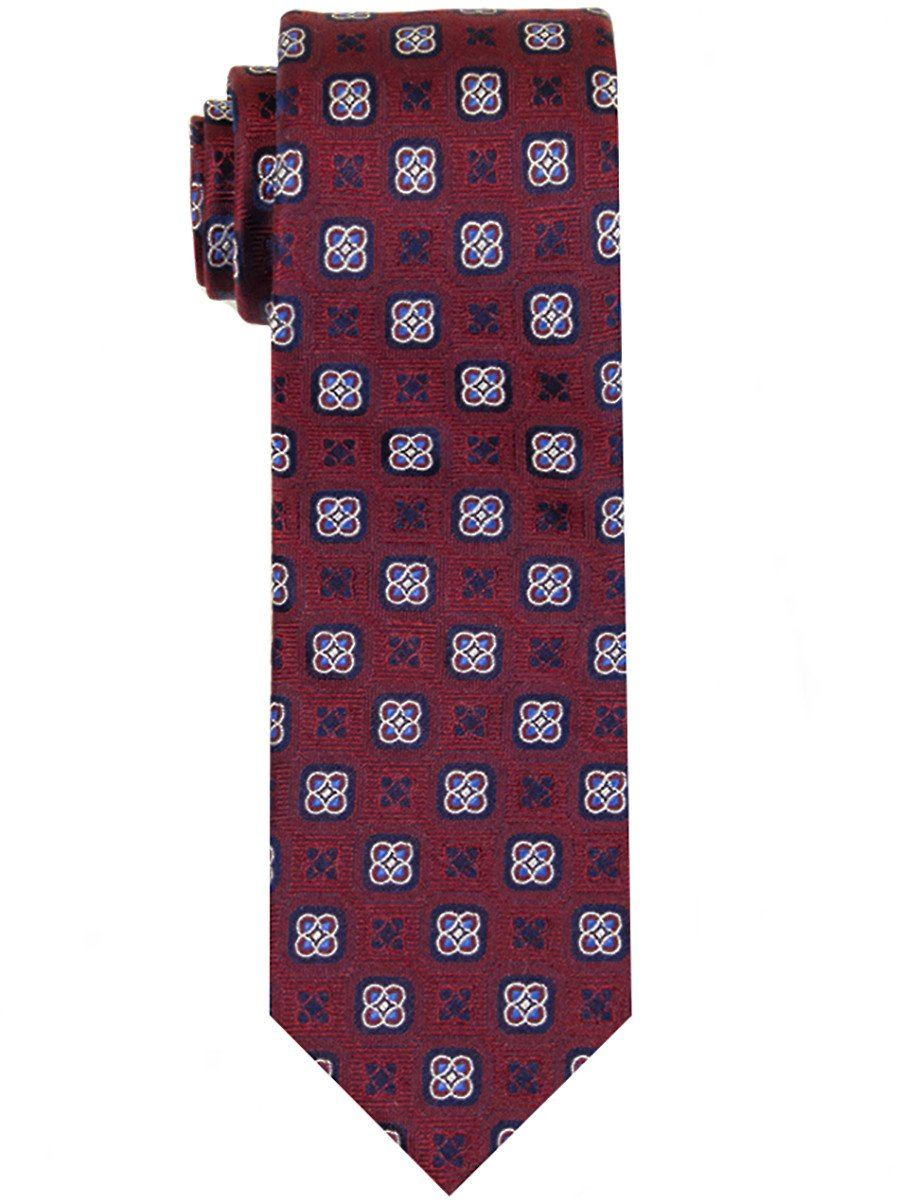 Heritage House 23285 100% Woven Silk Boy's Tie - Neat Geometric Style - Red/Navy