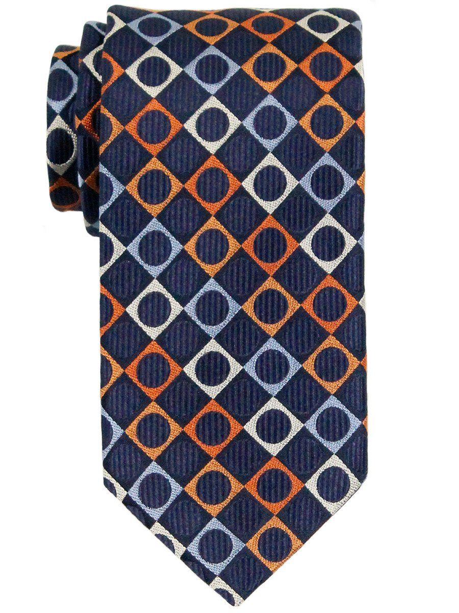 Heritage House 23289 100% Woven Silk Boy's Tie - Neat - Orange/Navy Boys Tie Heritage House