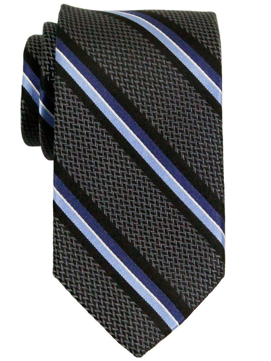 Heritage House 23321 100% Woven Silk Boy's Tie - Stripe - Charcoal/Blue