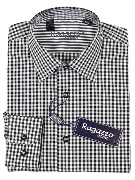 Ragazzo 23380 100% Cotton Boy's Dress Shirt - Plaid - Black and White