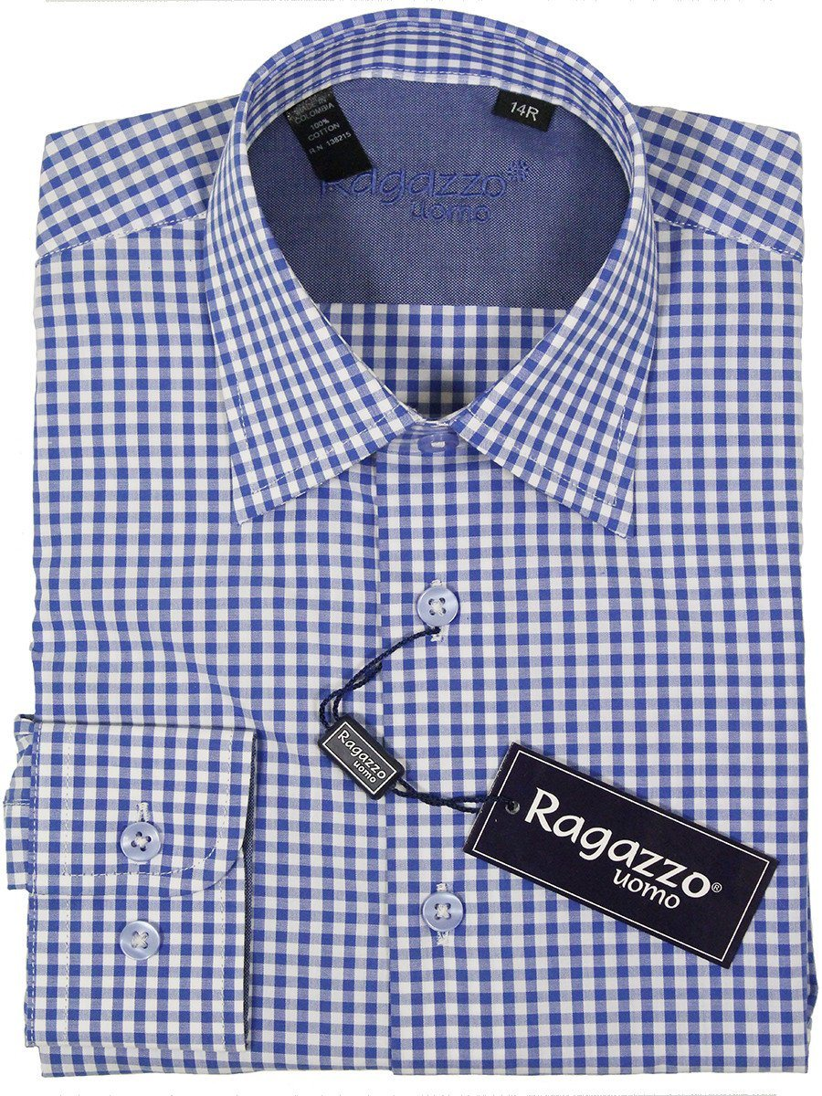 Ragazzo 23385 100% Cotton Boy's Dress Shirt - Plaid - Blue And White Boys Dress Shirt Ragazzo