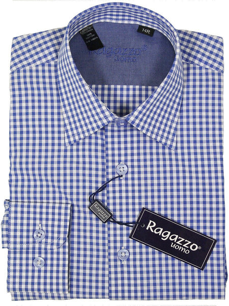 Ragazzo 23385 100% Cotton Boy's Dress Shirt - Plaid - Blue And White