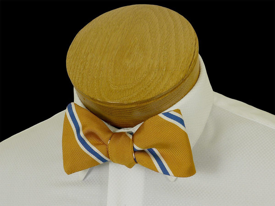 Boy's Bow Tie 23569 Gold/Blue Stripe Boys Bow Tie High Cotton