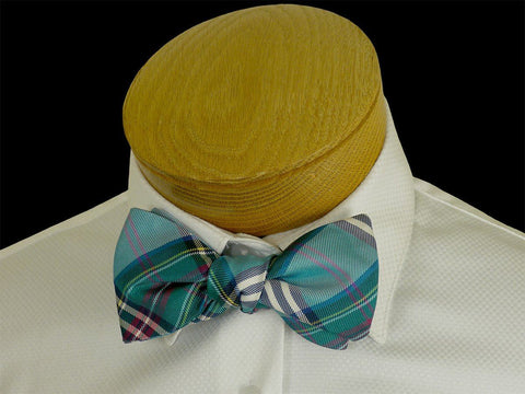 Boy's Bow Tie 23575 Teal Plaid Boys Bow Tie High Cotton