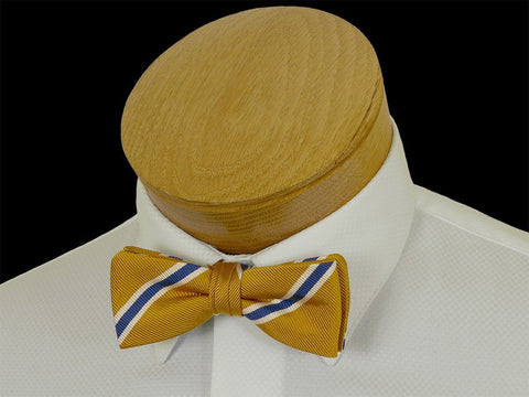 Boy's Bow Tie 23577 Gold/Blue Stripe Boys Bow Tie High Cotton