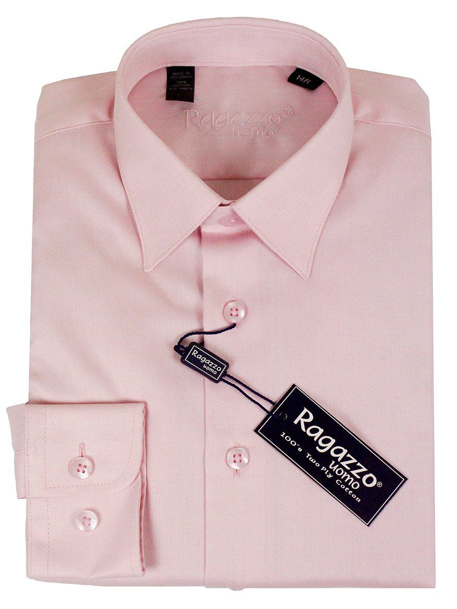 Ragazzo 23590 100% Cotton Boy's Dress Shirt - Herringbone - Pink