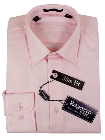 Ragazzo 23610 100% Cotton Slim Fit Boy's Dress Shirt - Diagonal Weave - Pink Boys Dress Shirt Ragazzo