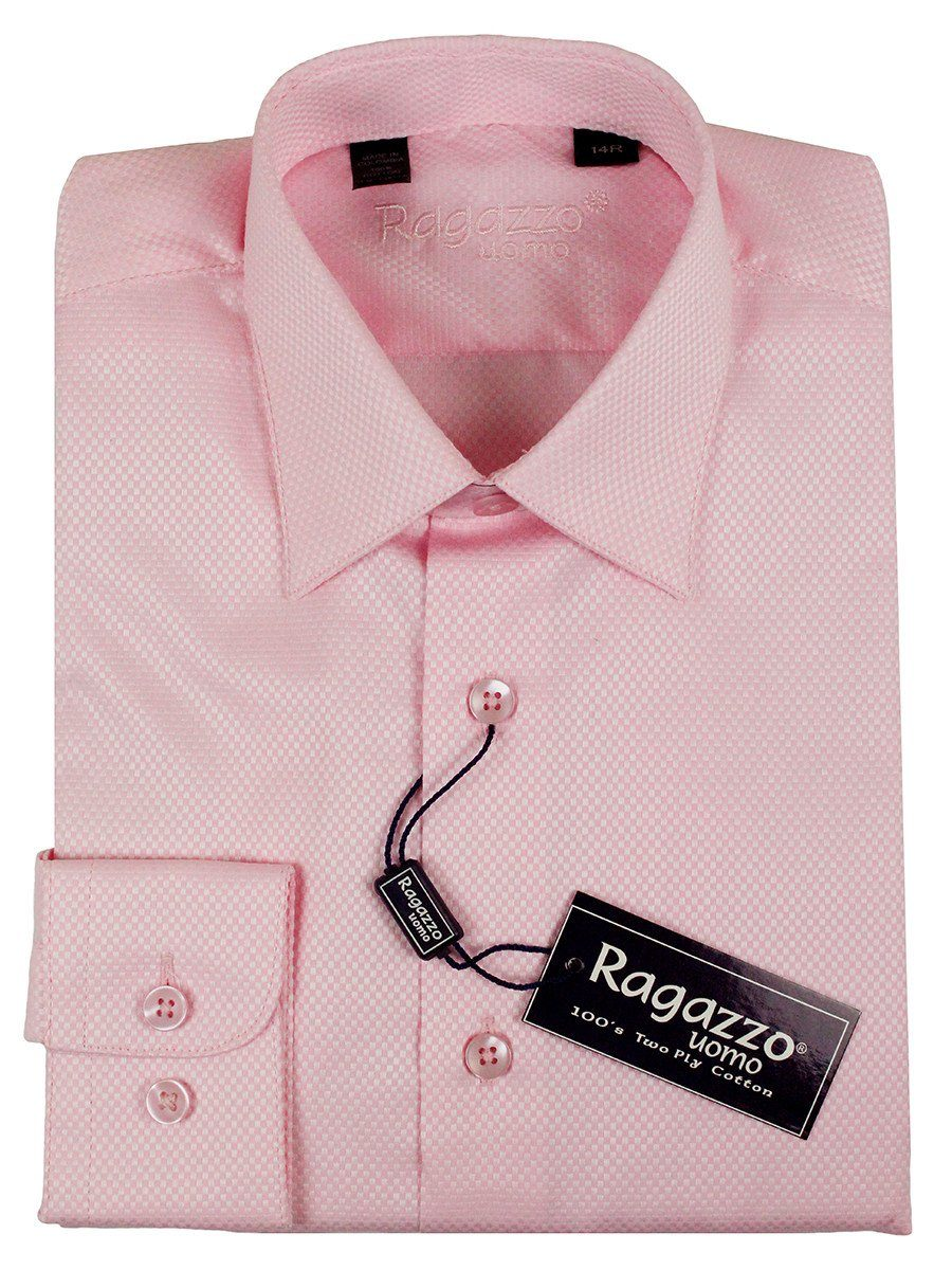 Ragazzo 23617 100% Cotton Boy's Dress Shirt - Box Weave - Pink
