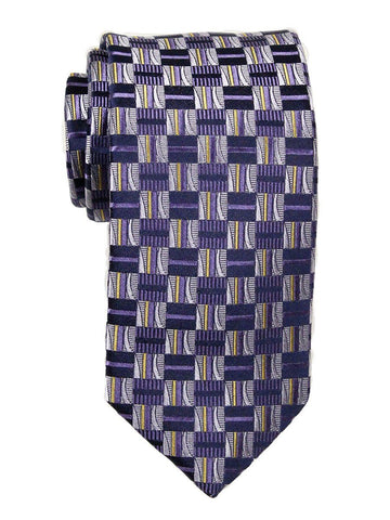Heritage House 23701 100% Woven Silk Boy's Tie - Check Pattern - Purple/Yellow/Navy Boys Tie Heritage House