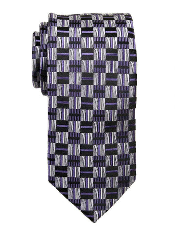 Heritage House 23702 100% Woven Silk Boy's Tie - Check Pattern - Purple/Black Boys Tie Heritage House