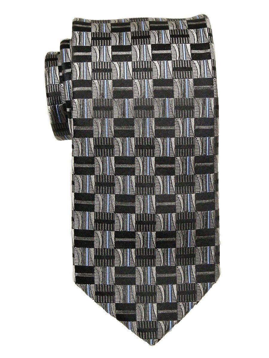 Heritage House 23703 100% Silk Boy's Tie - Check Pattern - Silver / Black / Blue Boys Tie Heritage House