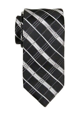 Heritage House 23712 100% Silk Boy's Tie - Plaid - Silver/Black Boys Tie Heritage House