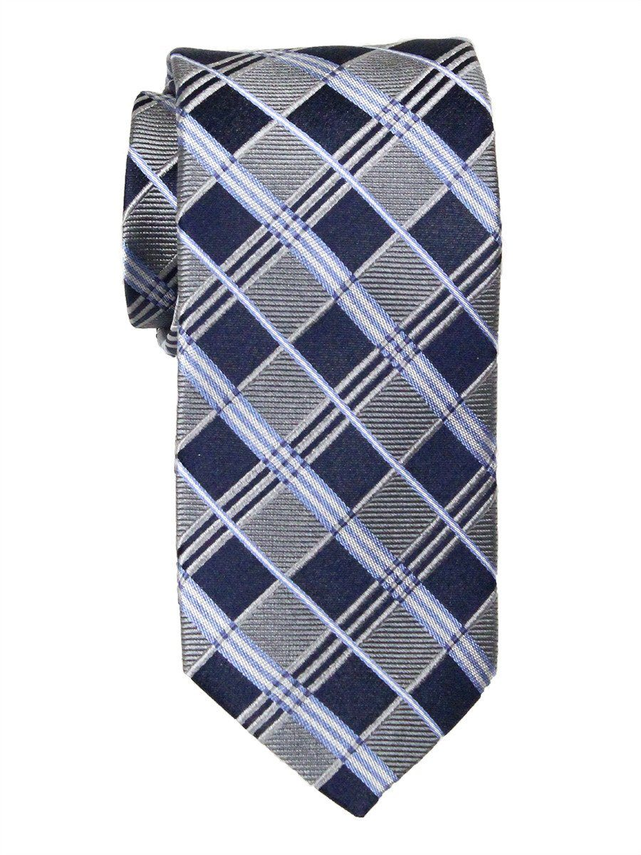 Heritage House 23713 100% Woven Silk Boy's Tie - Plaid - Silver/Navy/Blue