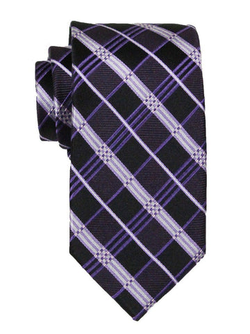 Heritage House 23715 100% Silk Boy's Tie - Plaid - Purple/Black Boys Tie Heritage House