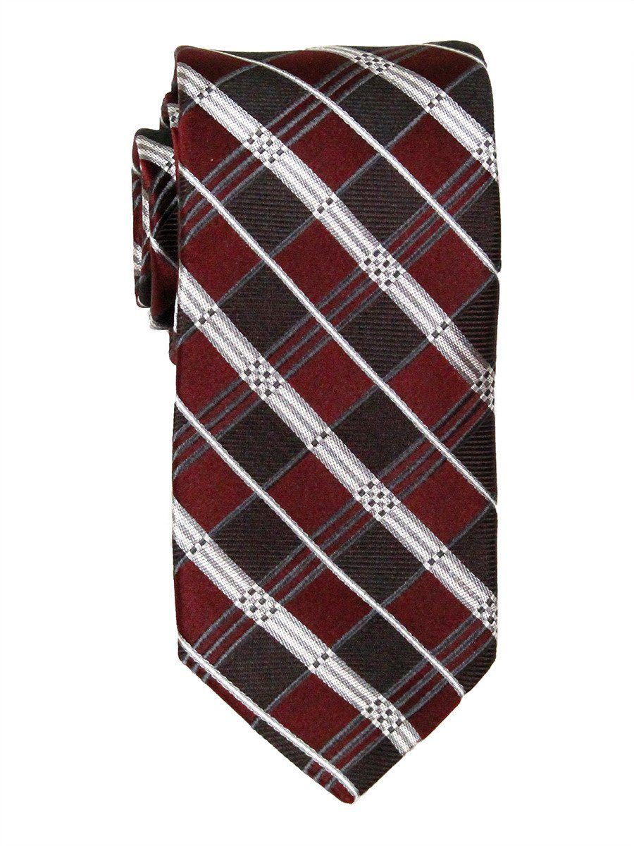 Heritage House 23726 100% Woven Silk Boy's Tie - Plaid - Burgundy/Silver