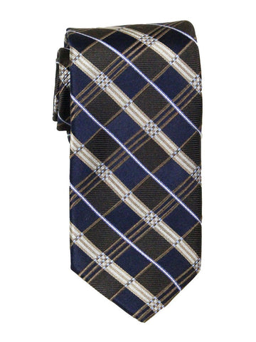 Heritage House 23727 100% Woven Silk Boy's Tie - Plaid - Navy/Khaki Boys Tie Heritage House