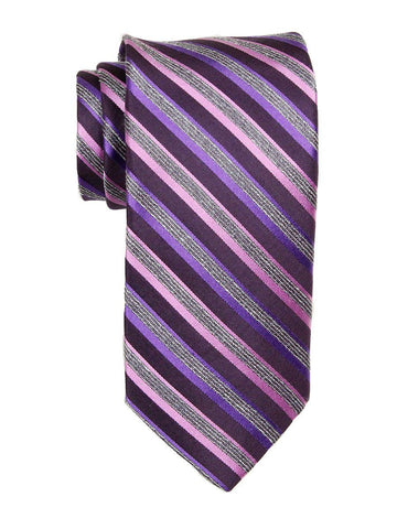 Heritage House 23742 100% Woven Silk Boy's Tie - Stripe Pattern - Purple/Pink/Gray Boys Tie Heritage House