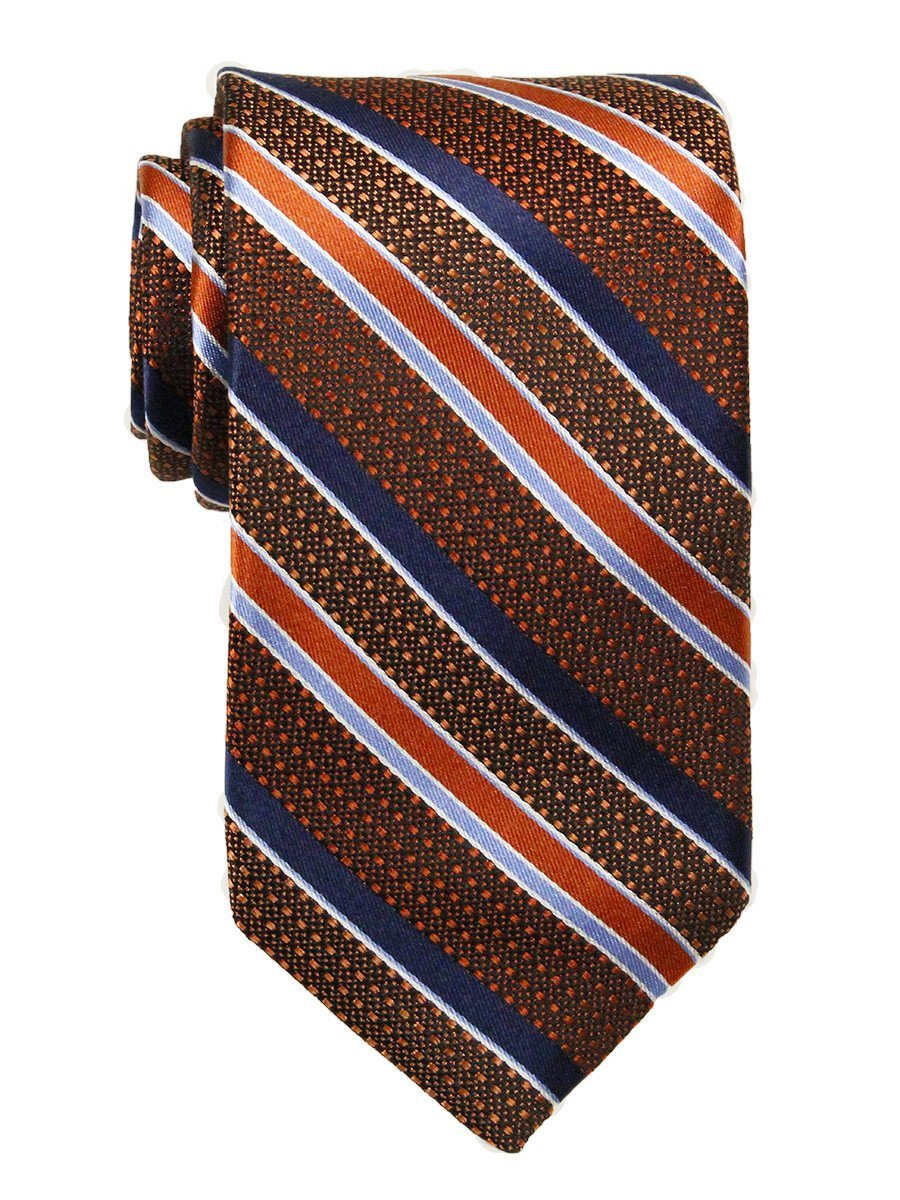 Heritage House 23762 100% Woven Silk Boy's Tie - Stripe - Orange/Blue/Navy Boys Tie Heritage House