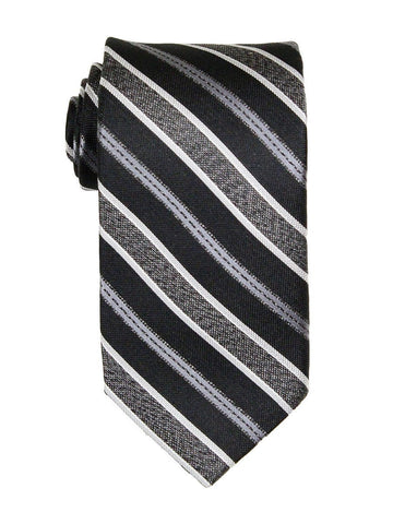 Heritage House 23774 100% Woven Silk Boy's Tie - Stripe - Black/Silver/Gray Boys Tie Heritage House