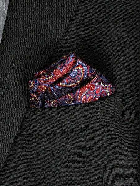 Boy's Pocket Square 23778 Burgundy/Blue/Gold