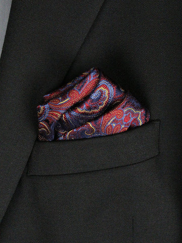 Boy's Pocket Square 23778 Burgundy/Blue/Gold Boys Pocket Square Heritage House