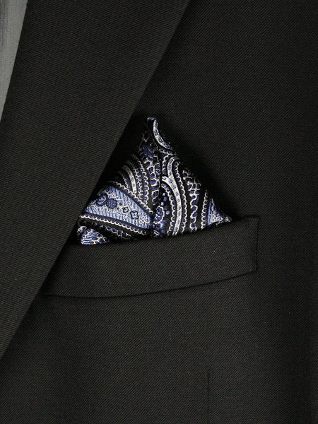 Boy's Pocket Square 23779 Black/Sky Blue