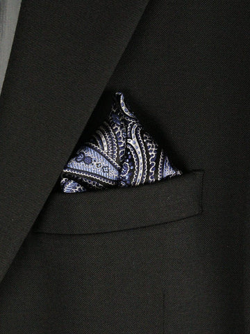 Boy's Pocket Square 23779 Black/Sky Blue Boys Pocket Square Heritage House