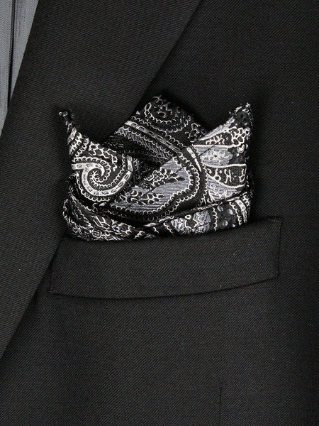 Boy's Pocket Square 23781 Black/Silver