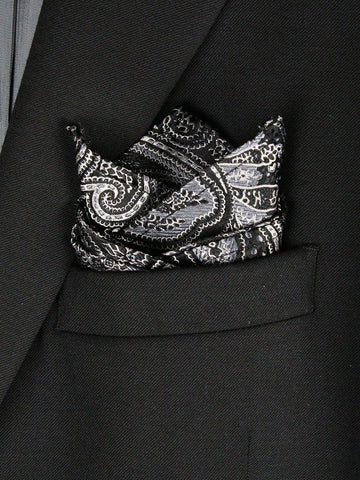 Boy's Pocket Square 23781 Black/Silver Boys Pocket Square Heritage House