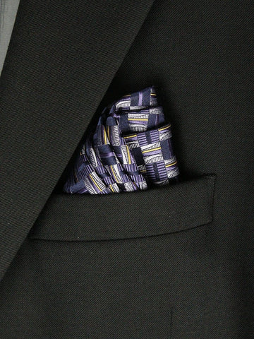 Boy's Pocket Square 23786 Purple/Yellow/Navy Boys Pocket Square Heritage House