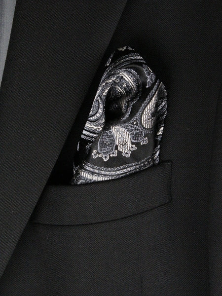 Boy's Pocket Square 23791 Black/Silver