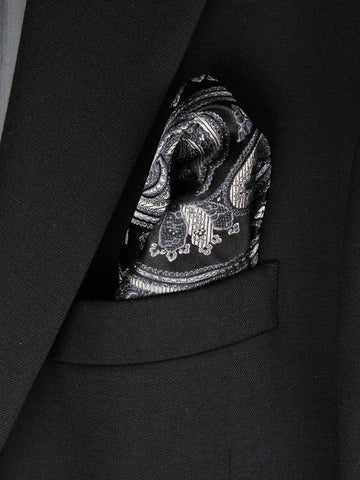 Boy's Pocket Square 23791 Black/Silver Boys Pocket Square Heritage House