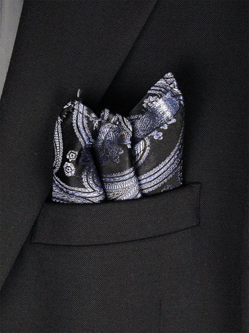 Boy's Pocket Square 23792 Blue/Black/Silver Boys Pocket Square Heritage House
