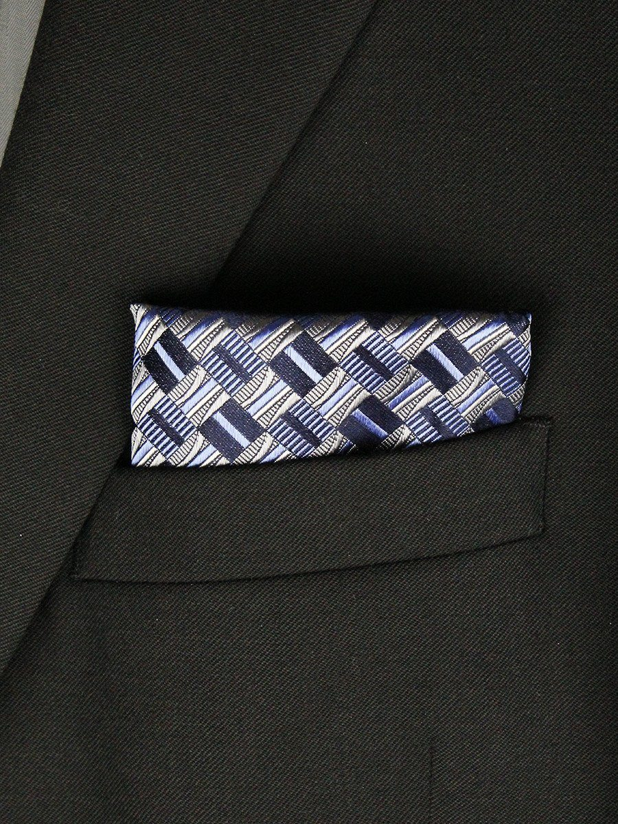 Boy's Pocket Square 23793 Navy/Silver