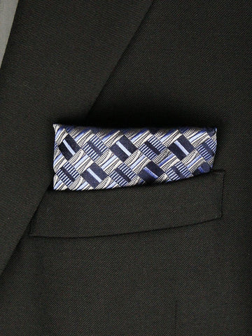 Boy's Pocket Square 23793 Navy/Silver Boys Pocket Square Heritage House
