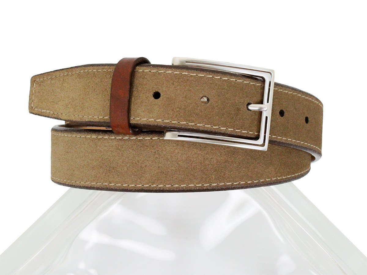 Brighton 23804 100% Genuine Leather Boy's Belt - Suede With Side Stitch - Brown