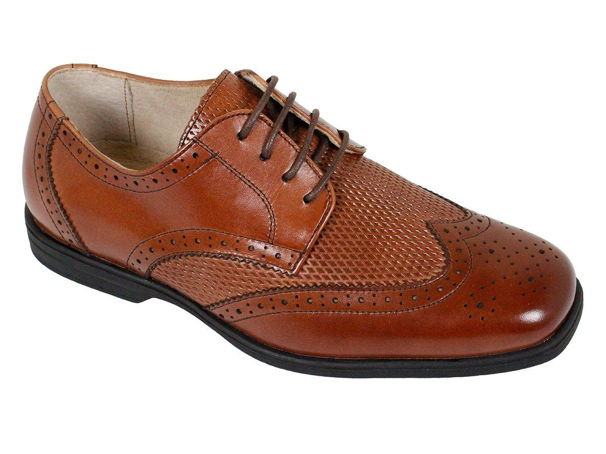 Florsheim 23850 Leather Boy's Shoe - Wing Tip - Saddle Tan