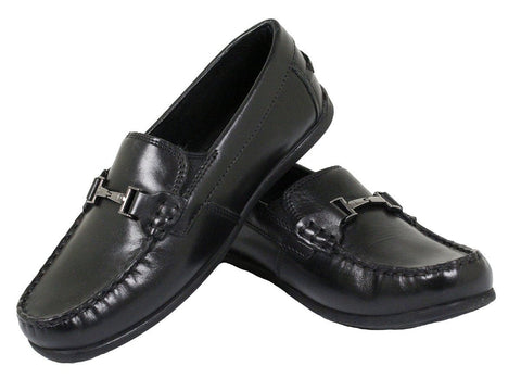 Florsheim 23863 Boy's Dress Shoe- Driving Bit-Black