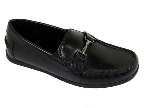 Image of Florsheim 23863 Leather Boy's Shoe - Driving Bit Loafer - Black Boys Shoes Florsheim