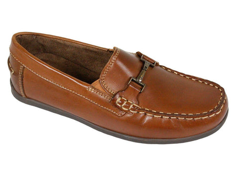 Image of Florsheim 23876 Leather Boy's Shoe - Driving Bit Loafer - Saddle Tan Boys Shoes Florsheim