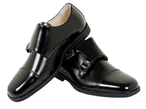 Florsheim 23889 Leather Boy's Shoe - Double Monk Strap -  Cap Toe - Black