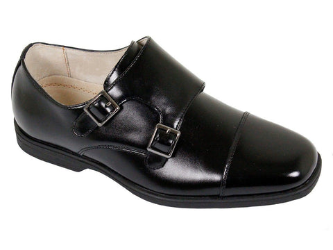 Image of Florsheim 23889 Leather Boy's Shoe - Double Monk Strap - Cap Toe - Black Boys Shoes Florsheim
