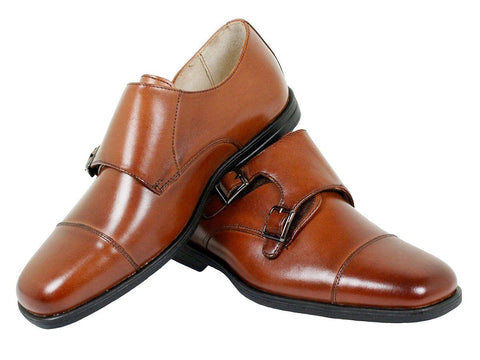 Image of Florsheim 23902 Leather Boy's Shoe - Double Monk Strap - Cap Toe Boys Shoes Florsheim