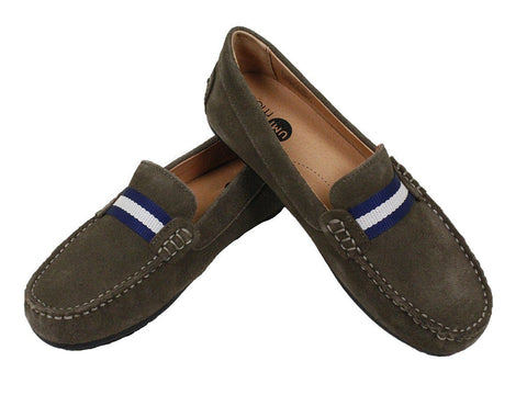 Image of Umi 23935 Suede Boy's Shoe - Driving Loafer - Taupe Boys Shoes Umi