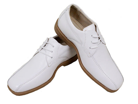 Image of Florsheim 23966 Leather Boy's Shoe - Oxford - Bicycle Toe - White Boys Shoes Florsheim